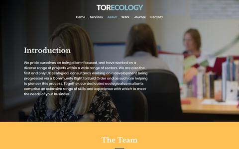 Screenshot of About Page torecology.co.uk - Meet the team | Tor Ecology - A South West Ecological Consultancy - captured Oct. 20, 2018