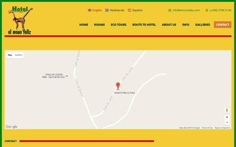 Screenshot of Contact Page elmonofeliz.com - Contact - El Mono Feliz - captured Nov. 13, 2016