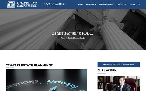 Screenshot of FAQ Page citadellaw.com - What is estate planning - captured Nov. 6, 2016