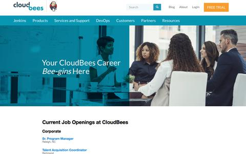 Screenshot of Jobs Page cloudbees.com - Careers - Current Job Openings | CloudBees - captured Feb. 26, 2018