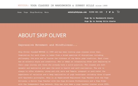 Screenshot of About Page whyoga.com - About Skip Oliver | WHYOGA | Wandsworth and Dorking Yoga - captured June 29, 2018