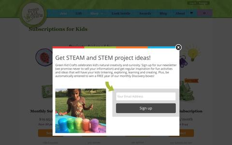 Screenshot of Signup Page greenkidcrafts.com - Subscriptions for Kids - Green Kid Crafts | Official Site - captured July 19, 2016