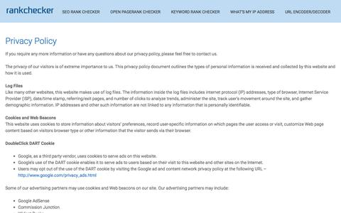 Screenshot of Privacy Page rankchecker.com - Rank Checker - Privacy Policy - RankChecker.com - captured Sept. 23, 2018