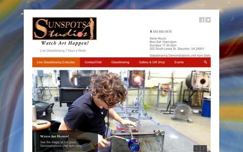 Screenshot of Home Page sunspots.com - Live Glassblowing Everyday • Sunspots Studios - captured Jan. 26, 2015