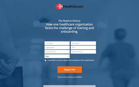 Screenshot of Landing Page healthstream.com - Free Webinar | The Road to Victory - captured Aug. 1, 2016