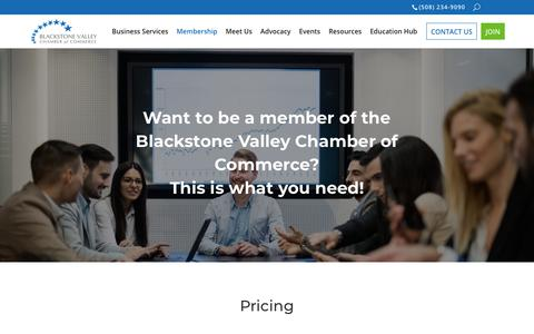 Screenshot of Pricing Page blackstonevalley.org - Pricing | Blackstone Valley Chamber of Commerce | Worcester - captured Oct. 6, 2018