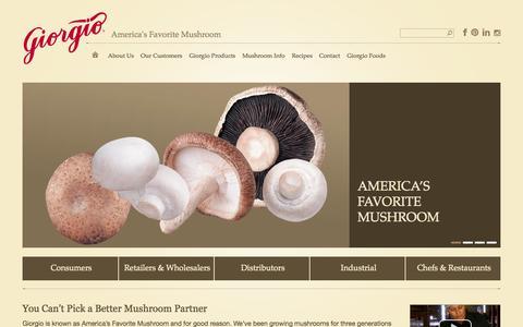 Screenshot of Home Page giorgiofresh.com - Giorgio Fresh Mushrooms | America's Favorite Mushroom - captured Oct. 2, 2014