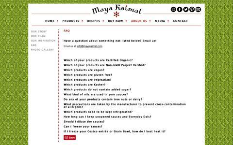 Screenshot of FAQ Page mayakaimal.com - FAQ • Maya Kaimal Fine Indian Foods - captured Oct. 17, 2018