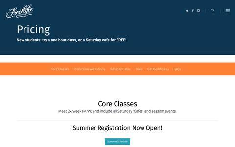 Screenshot of Pricing Page freestylelanguagecenter.com - Pricing - Freestyle Language Center - captured May 10, 2017