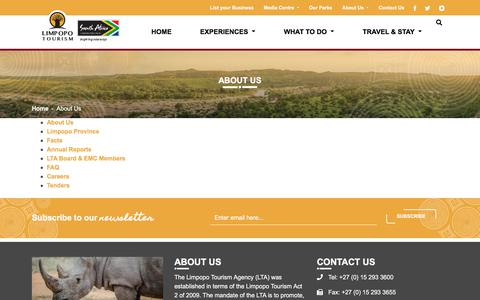 Screenshot of About Page golimpopo.com - About Us | Limpopo Tourism - captured Aug. 27, 2018