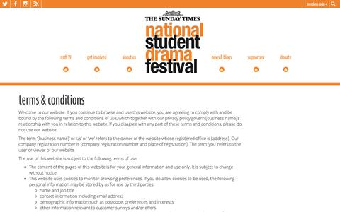 Screenshot of Terms Page nsdf.org.uk - Terms & Conditions | National Student Drama Festival - captured Oct. 20, 2018