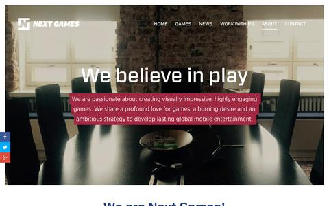 Screenshot of About Page nextgames.com - Next Games - captured Dec. 4, 2015