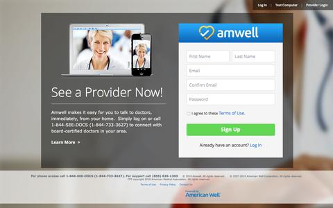 Screenshot of Signup Page amwell.com - Amwell – Consult a Doctor, Therapist or Nutritionist Online - captured Feb. 14, 2020