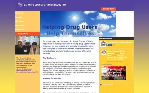 Screenshot of Home Page sachr.org - St. Ann's Corner of Harm Reduction - captured Oct. 6, 2014