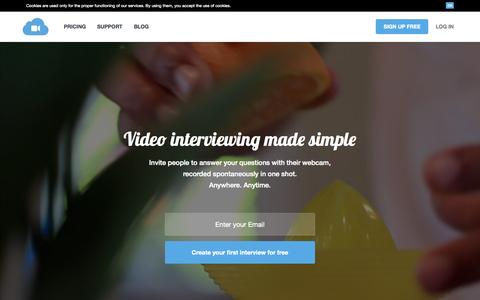 Screenshot of Home Page itwapp.io - InterviewApp | Video interviewing made simple - captured Aug. 7, 2015