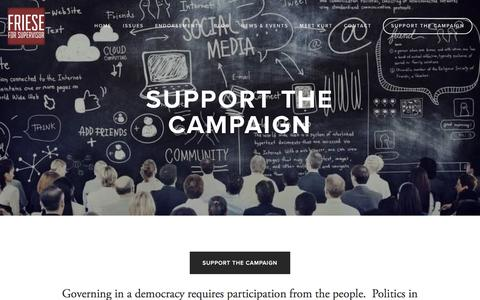 Screenshot of Support Page kurtfriese.com - Support the Campaign — Elect Kurt Friese - captured April 24, 2016