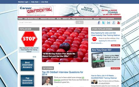 Screenshot of Home Page careerconfidential.com - Job Search Tips | Job Interview Tips | Career Coaching | Career Confidential - captured Sept. 23, 2014