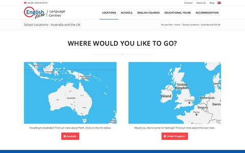 Screenshot of Locations Page englishforless.com - School Locations - Australia and the UK | English for Less - captured July 19, 2018