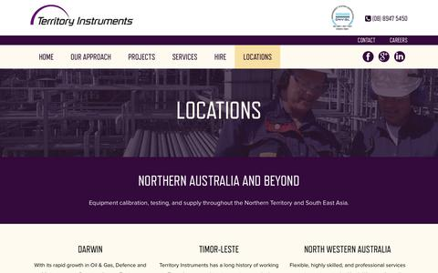 Screenshot of Locations Page territoryinstruments.com - Locations - captured Sept. 20, 2018