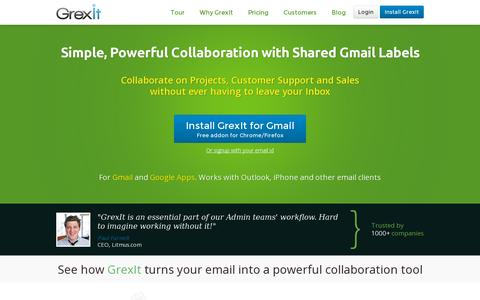 Screenshot of Home Page grexit.com - Customer Support and Sales Management, Right from your Gmail |GrexIt - captured July 17, 2014