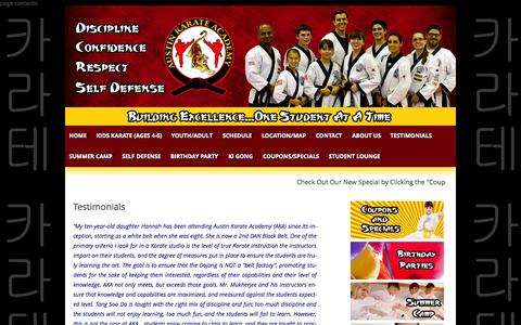 Screenshot of Testimonials Page austinkarateacademy.com - Testimonials - Austin Karate Academy - captured Oct. 27, 2014
