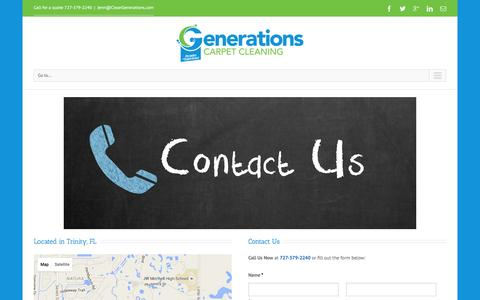 Screenshot of Contact Page cleangenerations.com - Generations Carpet Cleaning   –  Contact Us - captured Jan. 27, 2016