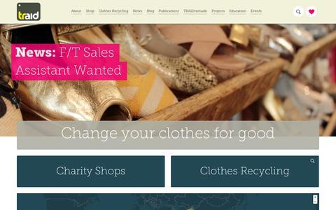 Screenshot of Home Page traid.org.uk - Home - TRAID - captured Sept. 30, 2014