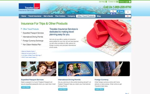 Screenshot of Products Page travelexinsurance.com - Insurance For Trips and Other Products | Travelex Insurance - captured Dec. 16, 2016