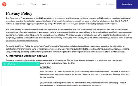 Privacy Policy | TINT: Create Authentic Stories in Moments