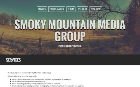 Screenshot of Services Page smokymountainmediagroup.com - Services | Smoky Mountain Media Group - captured Jan. 11, 2016