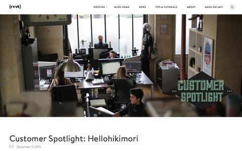 Screenshot of Blog mediatemple.net - Hosting Customer Spotlight: Hellohikimori - Media Temple Blog - captured Dec. 30, 2015