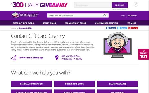 Screenshot of Contact Page giftcardgranny.com - Contact Gift Card Granny - captured June 22, 2017