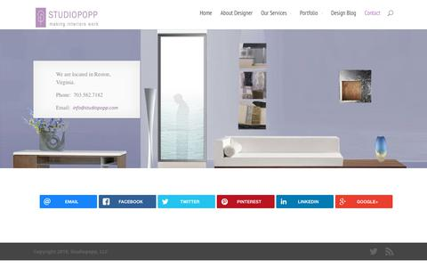 Screenshot of Contact Page studiopopp.com - Contact DC and Virginia Based Interior Design Firm StudioPopp - captured Oct. 20, 2018