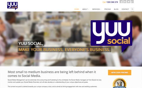 Screenshot of Home Page yuusocial.com - Social Media Management and Monitoring for Small Business | YUU Social - captured Sept. 30, 2014