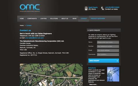 Screenshot of Contact Page omc-uk.com - Contact - captured Oct. 7, 2014