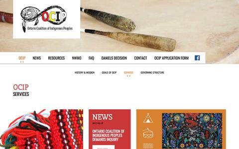 Screenshot of Services Page o-cip.ca - Services | Ontario Coalition of Indigenous Peoples | O-CIP  :: Ontario Coalition of Indigenous Peoples - captured June 28, 2018