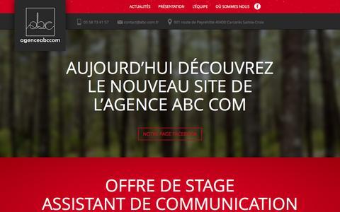Screenshot of Home Page agence-abccom.fr - Abc'com - Agence de communication et sites web - Landes (40) - captured Aug. 30, 2015