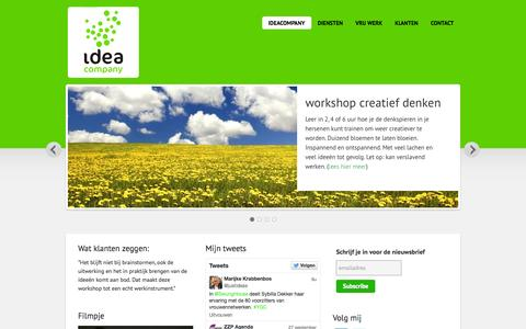 Screenshot of Home Page ideacompany.nl - IdeaCompany — géén advies, géén uitvoering, alléén ideeën - captured Sept. 30, 2014