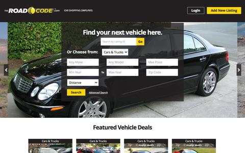 Screenshot of Home Page theroadcode.com - Used Cars, Trucks, Boats & Vehicles For Sale | The Road Code - captured Oct. 1, 2015