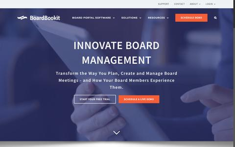 Screenshot of Home Page boardbookit.com - BoardBookit   Secure Board Portal and Board Management Tools - captured May 6, 2018