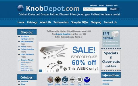 Screenshot of Home Page About Page Contact Page Site Map Page Login Page Testimonials Page knobdepot.com - Free Shipping on Cabinet Hardware - Kitchen Cabinet Knobs, Kitchen Cabinet Pulls & Handles at KnobDepot.com - captured Oct. 6, 2014