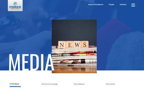 Screenshot of Press Page forcemotors.com - Force | Media - captured Oct. 10, 2018