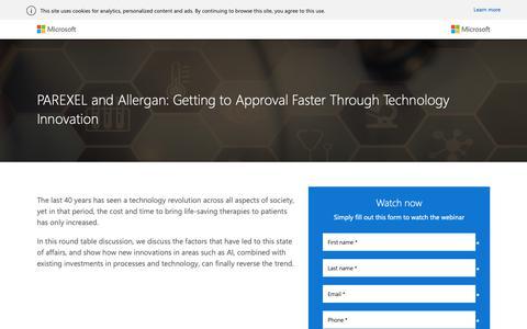 Screenshot of Landing Page microsoft.com - PAREXEL and Allergan On-Demand Webinar - Microsoft - captured Oct. 30, 2018