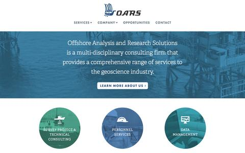 Screenshot of Home Page oarsolutions.com - OARS : Offshore Analysis and Research Solutions - captured Oct. 6, 2014