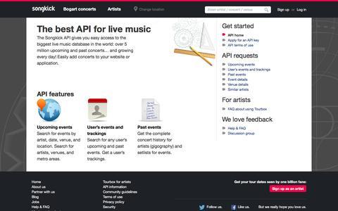 Screenshot of Developers Page songkick.com - Concerts and Festivals API | Songkick - captured July 18, 2016