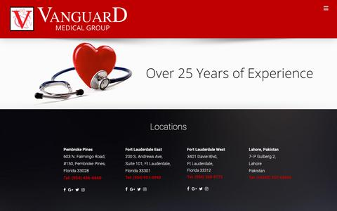 Screenshot of Home Page vanguardmsg.com - Home | Best Cardiologist in Fort Lauderdale | Vanguard Medical Group - captured Oct. 18, 2018
