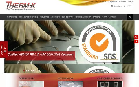 Screenshot of Home Page therm-x.com - Home page - captured June 17, 2017