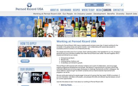 Screenshot of Jobs Page pernod-ricard-usa.com - Careers - captured Sept. 29, 2014