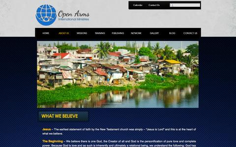 Screenshot of About Page oaim.net - What We Believe - Open Arms International Ministries - captured Oct. 9, 2014