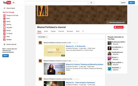 Screenshot of YouTube Page youtube.com - MissionTixVideos's channel  - YouTube - captured Oct. 25, 2014